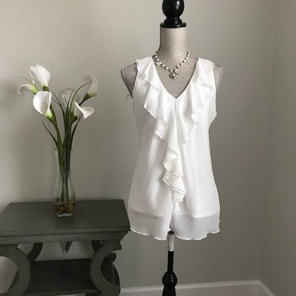 5834a659f9932d Iz Byer Tops | White Ruffle Sleeveless Blouse Black Lace Detail ...
